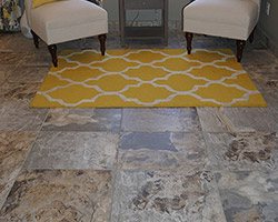 Patterned tile is the first step to creating a divine sitting space.